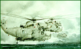 Fine art painting of RN Sea King helicopters