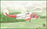 Fine art painting of Irish coast guard helicopters