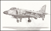 Fine art print of  Royal Navy Sea Harrier jump jet - pencil drawing